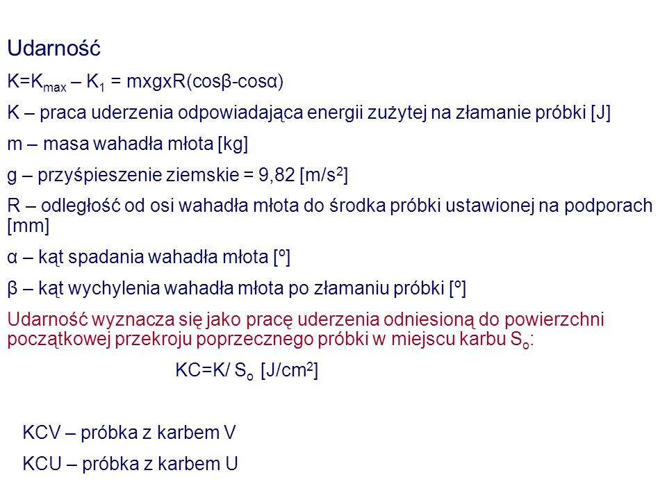 Udarność K=Kmax – K1 = mxgxR(cosβ-cosα)
