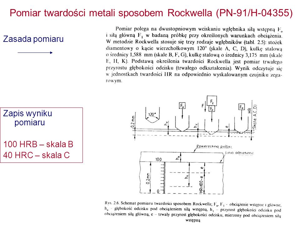 Pomiar twardości metali sposobem Rockwella (PN-91/H-04355)