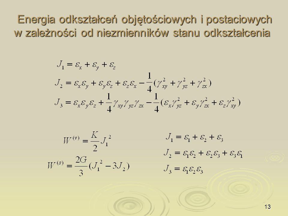 Energia odkształceń objętościowych i postaciowych w zależności od niezmienników stanu odkształcenia