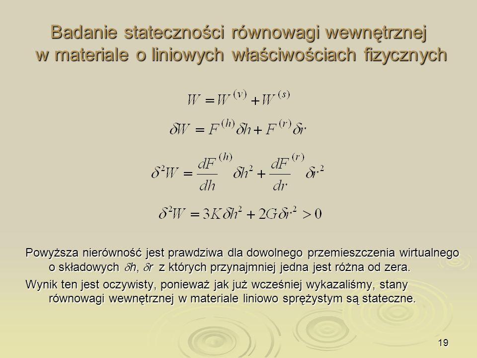 Badanie stateczności równowagi wewnętrznej w materiale o liniowych właściwościach fizycznych