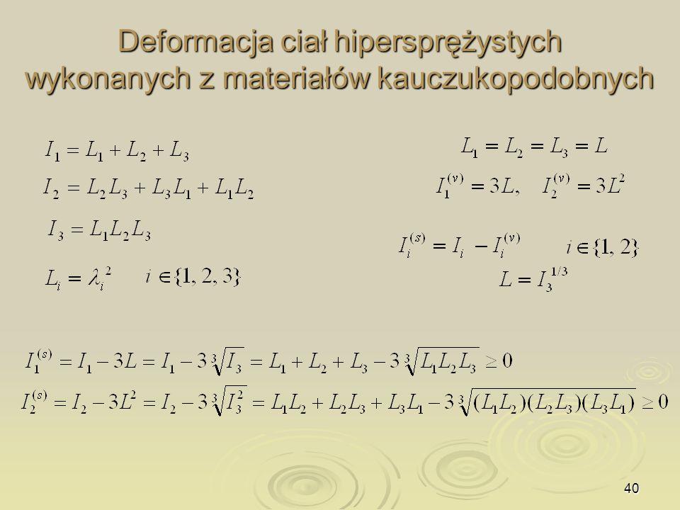 Deformacja ciał hipersprężystych wykonanych z materiałów kauczukopodobnych