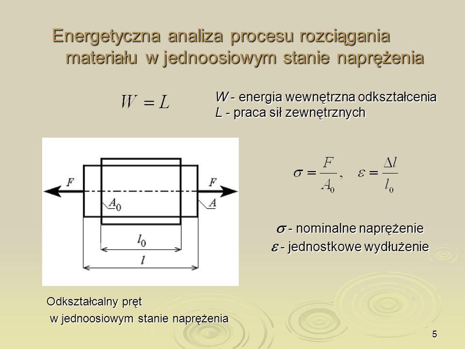 Energetyczna analiza procesu rozciągania materiału w jednoosiowym stanie naprężenia