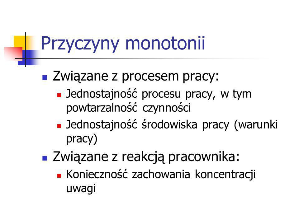 Przyczyny monotonii Związane z procesem pracy: