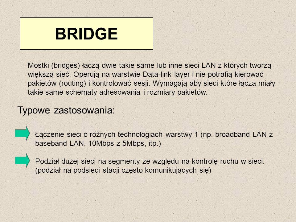 BRIDGE Typowe zastosowania: