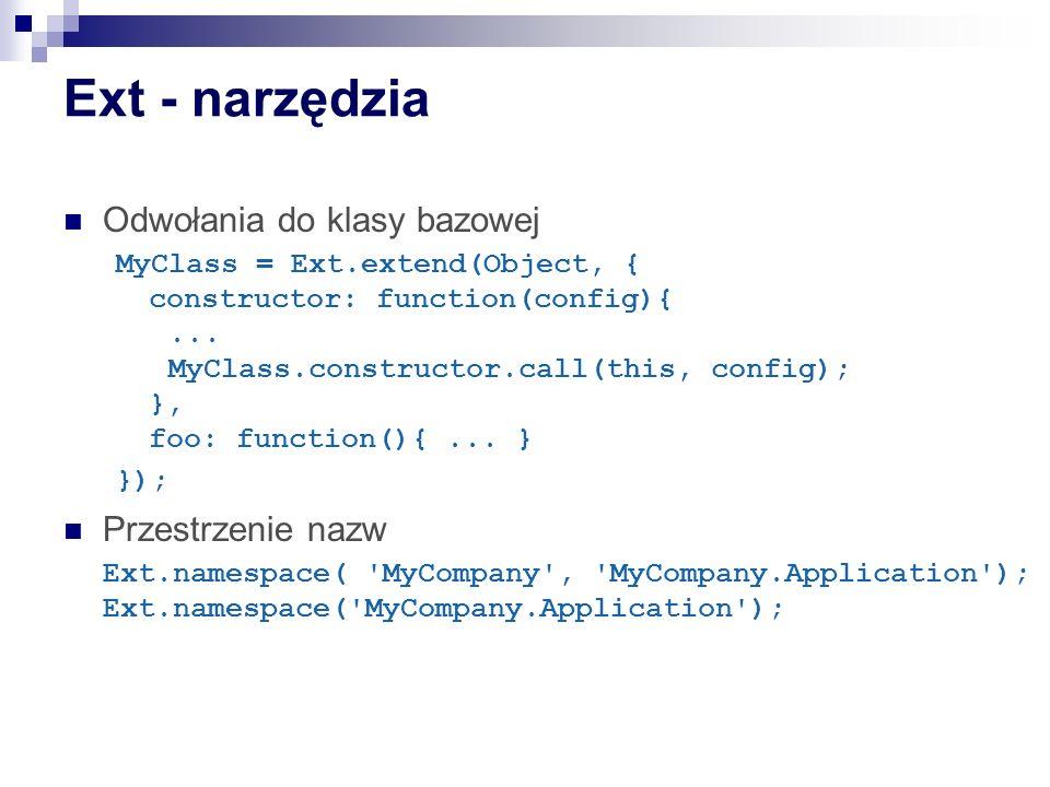 Ext - narzędzia Odwołania do klasy bazowej Przestrzenie nazw