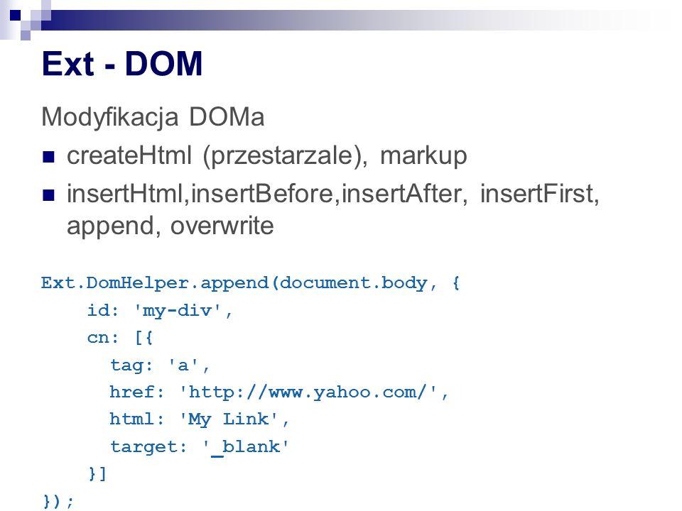 Ext - DOM Modyfikacja DOMa createHtml (przestarzale), markup