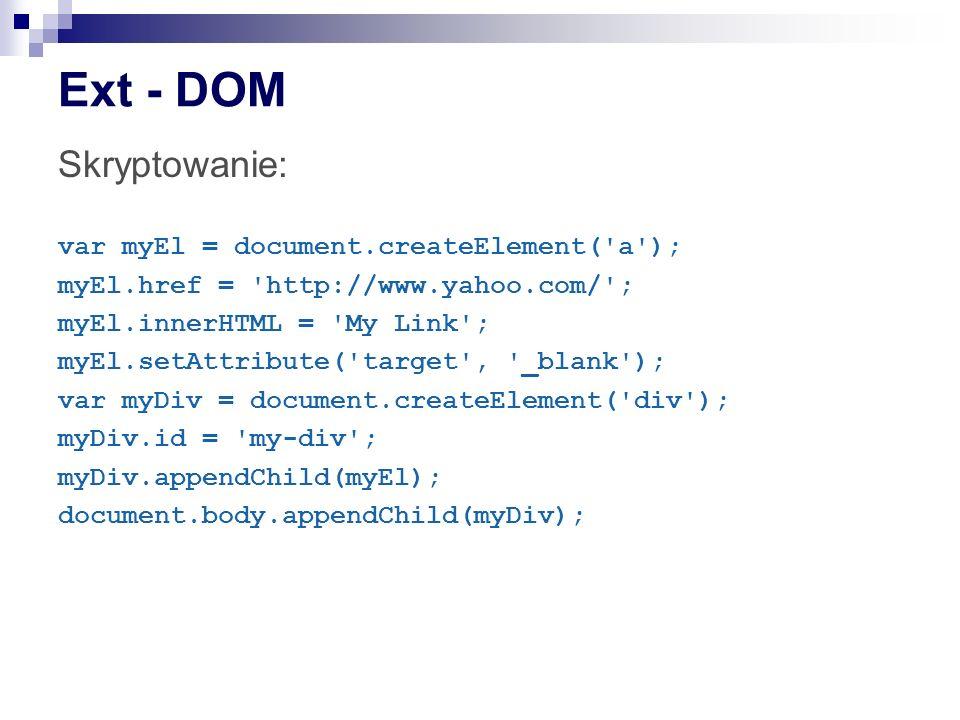 Ext - DOM Skryptowanie: var myEl = document.createElement( a );