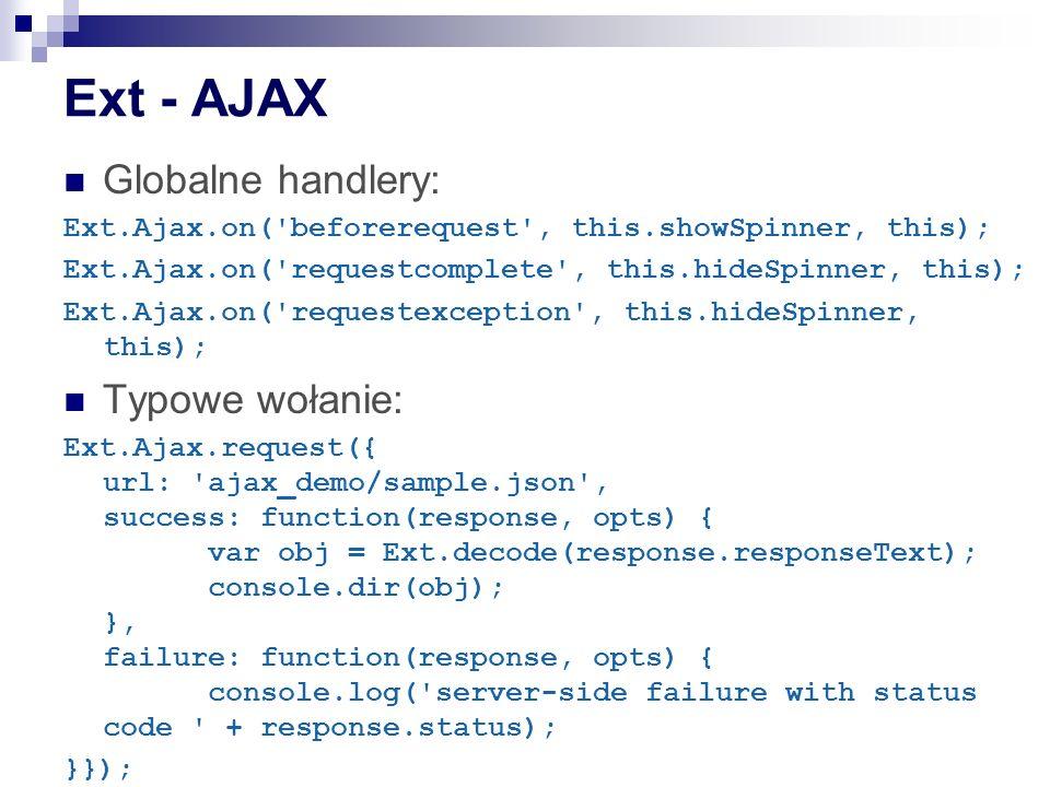 Ext - AJAX Globalne handlery: Typowe wołanie: