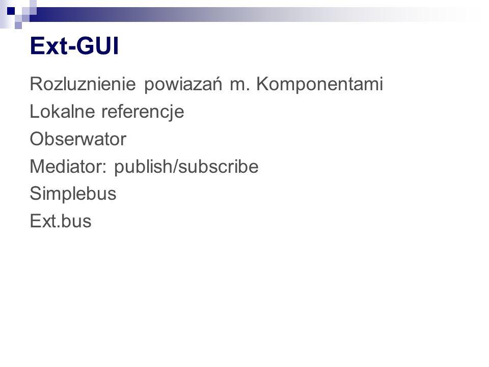 Ext-GUI Rozluznienie powiazań m. Komponentami Lokalne referencje
