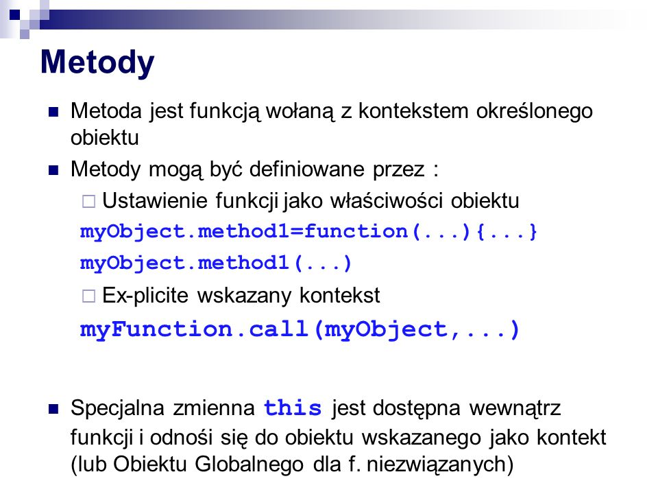 Metody myFunction.call(myObject,...)
