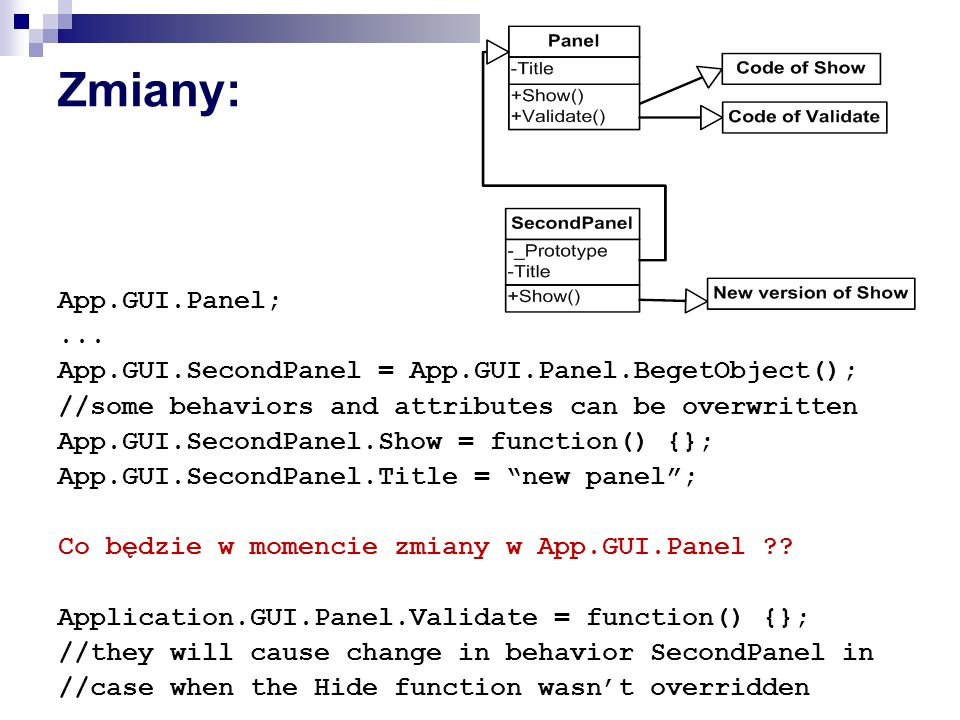 Zmiany: App.GUI.Panel; ... App.GUI.SecondPanel = App.GUI.Panel.BegetObject(); //some behaviors and attributes can be overwritten.