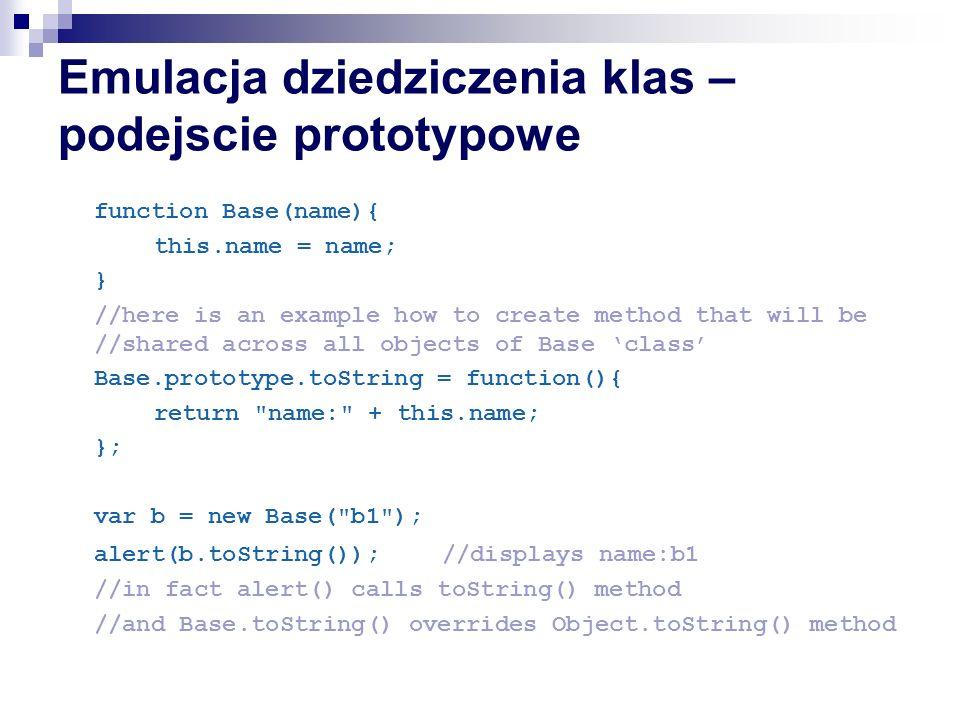 Emulacja dziedziczenia klas – podejscie prototypowe