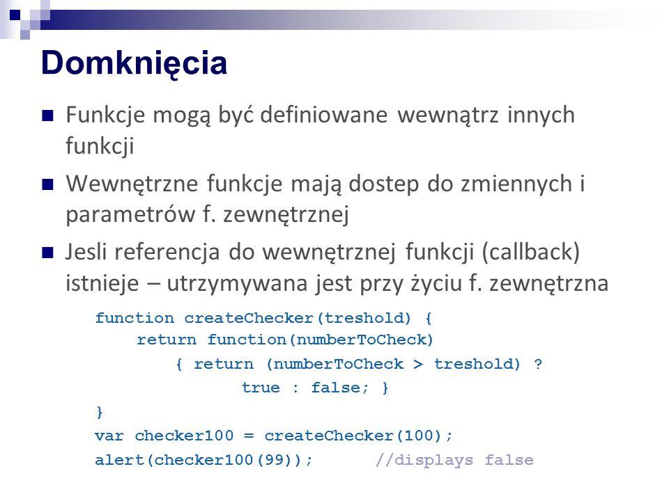 Domknięcia Funkcje mogą być definiowane wewnątrz innych funkcji