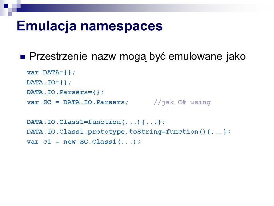 Emulacja namespaces Przestrzenie nazw mogą być emulowane jako