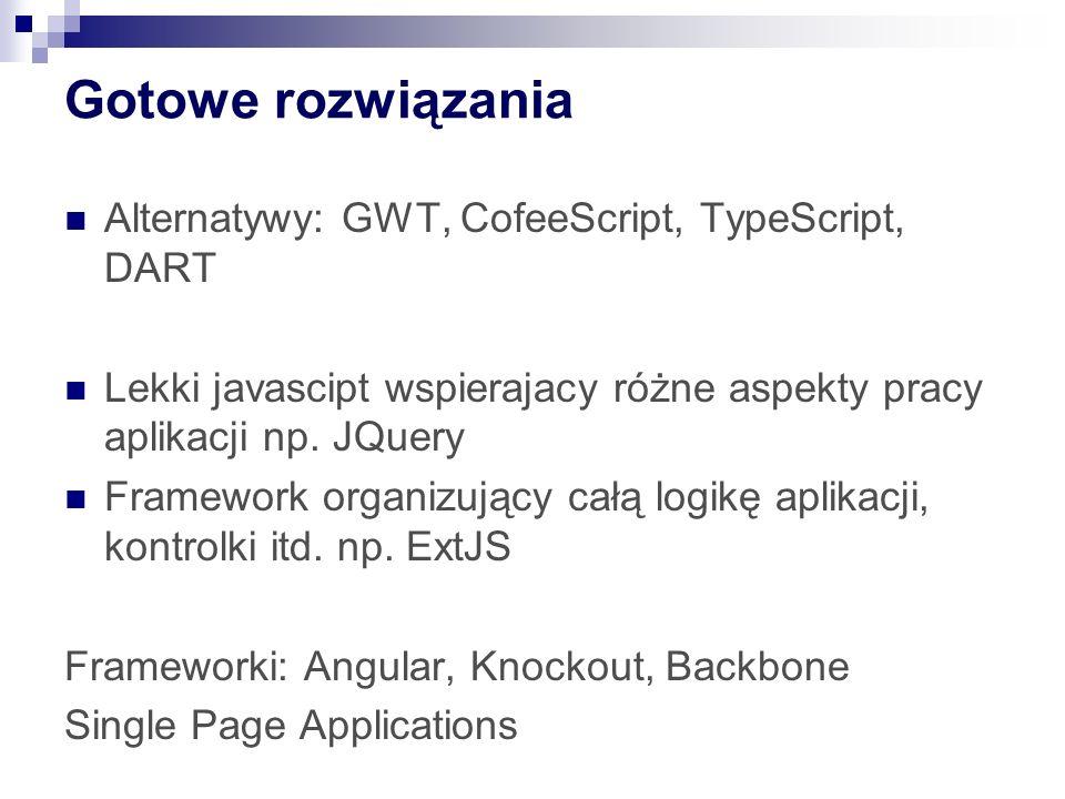 Gotowe rozwiązania Alternatywy: GWT, CofeeScript, TypeScript, DART