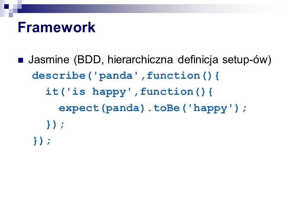 Framework Jasmine (BDD, hierarchiczna definicja setup-ów)