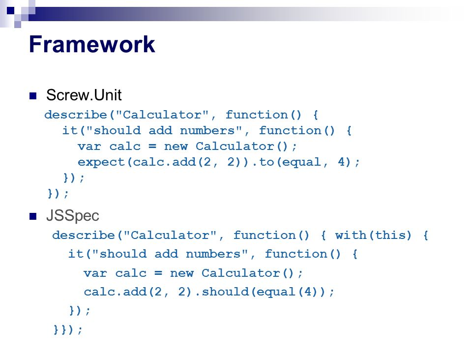Framework Screw.Unit JSSpec