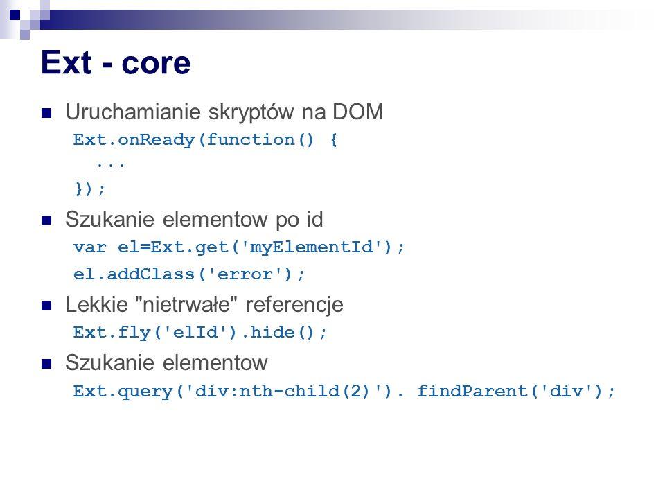 Ext - core Uruchamianie skryptów na DOM Szukanie elementow po id