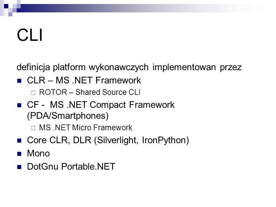 CLI definicja platform wykonawczych implementowan przez