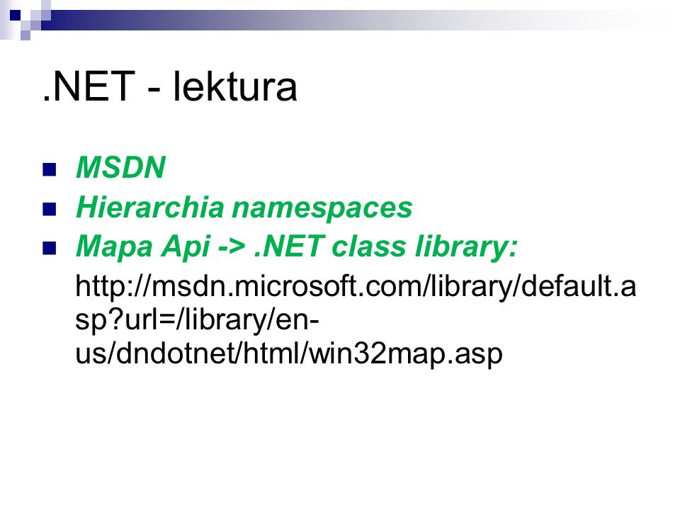 .NET - lektura MSDN Hierarchia namespaces