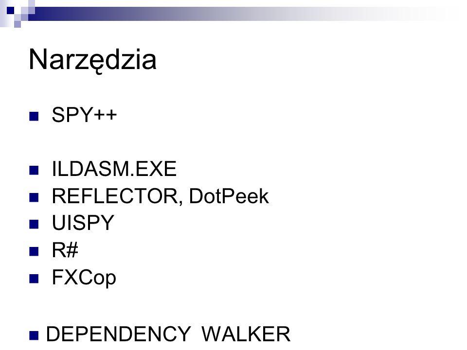 Narzędzia SPY++ ILDASM.EXE REFLECTOR, DotPeek UISPY R# FXCop