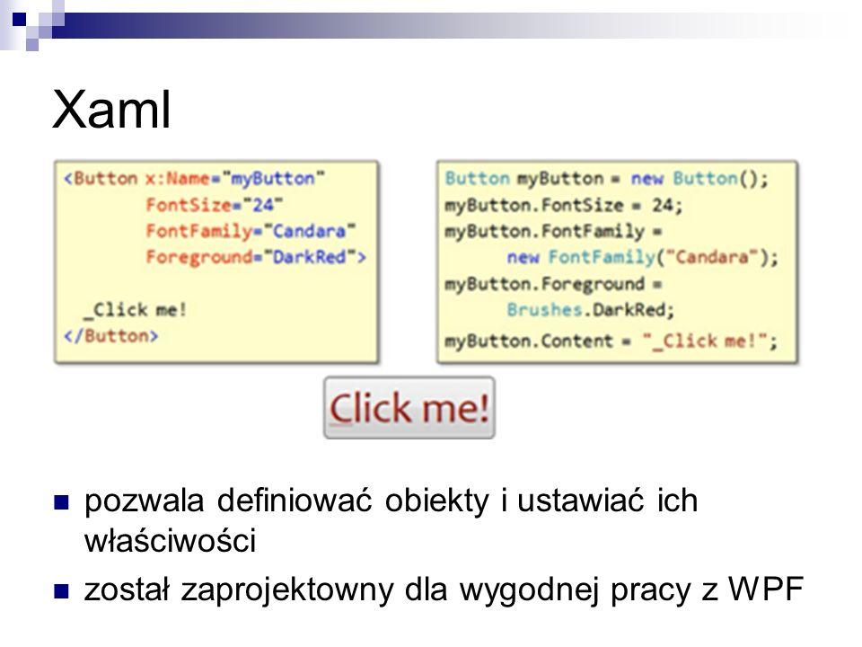 Xaml pozwala definiować obiekty i ustawiać ich właściwości