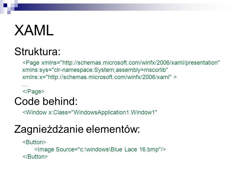 XAML Struktura: Code behind: Zagnieżdżanie elementów: