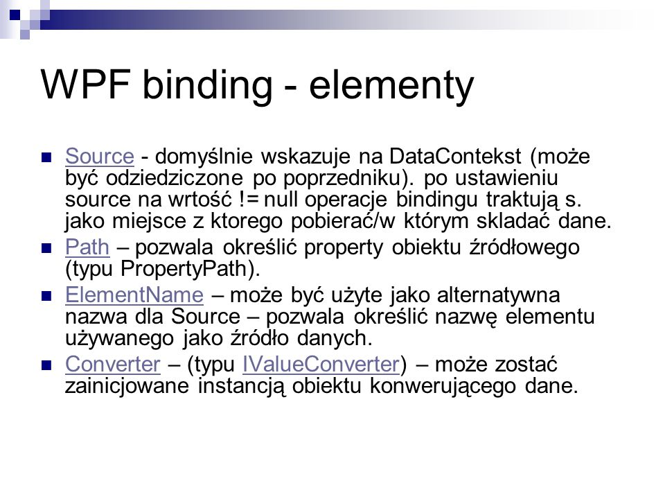 WPF binding - elementy