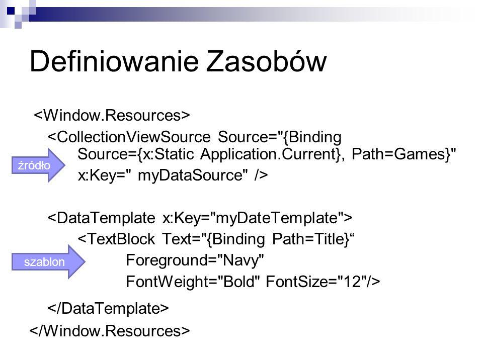 Definiowanie Zasobów </DataTemplate> <Window.Resources>