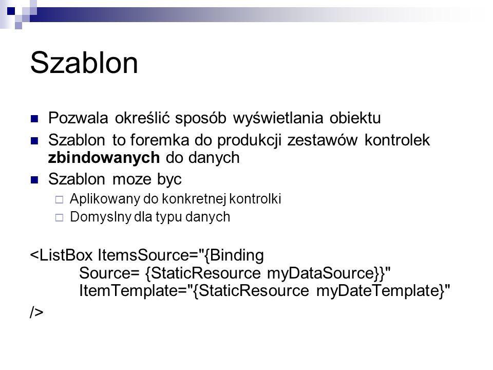 Szablon Pozwala określić sposób wyświetlania obiektu