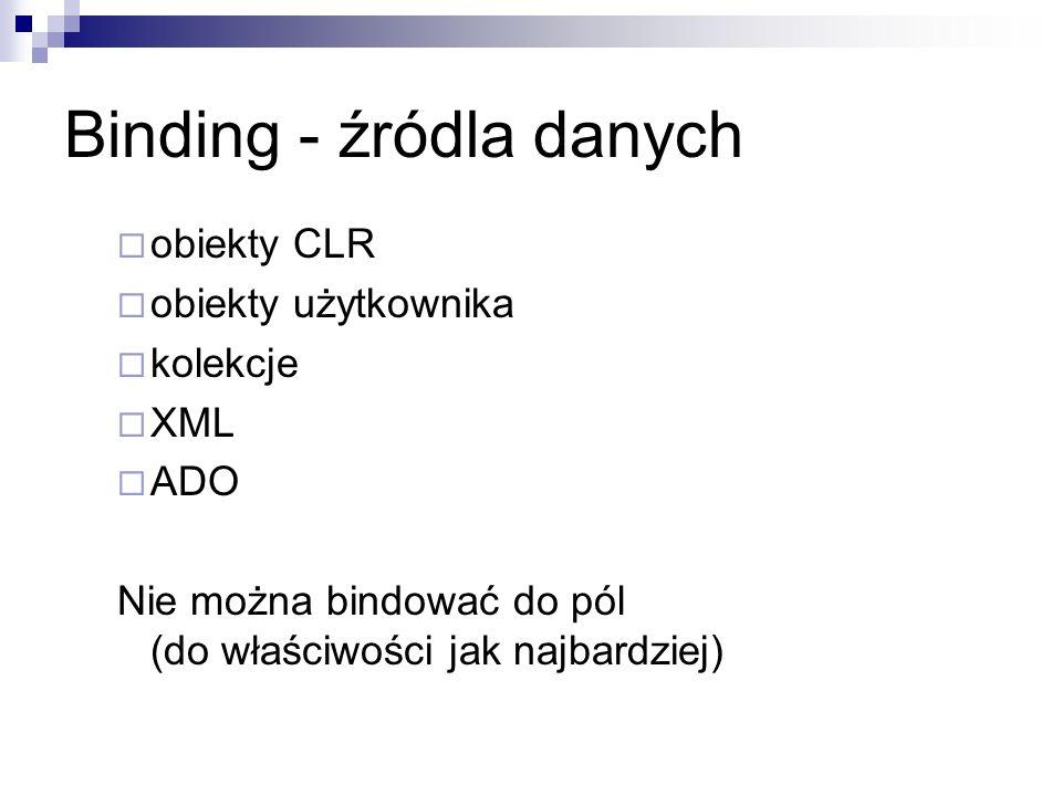 Binding - źródla danych