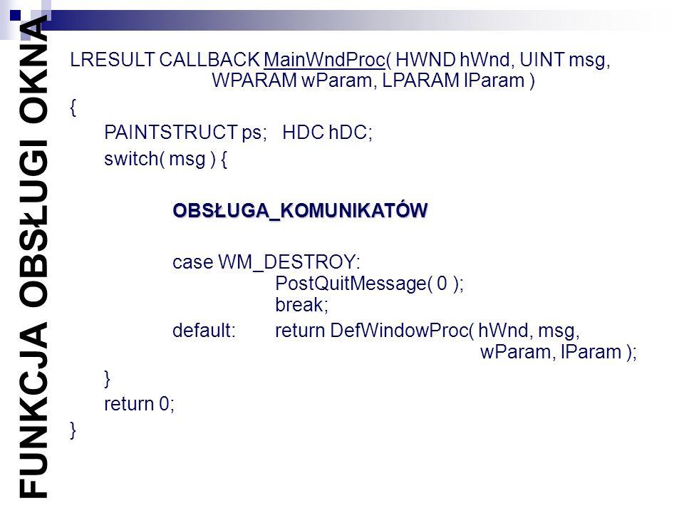LRESULT CALLBACK MainWndProc( HWND hWnd, UINT msg,