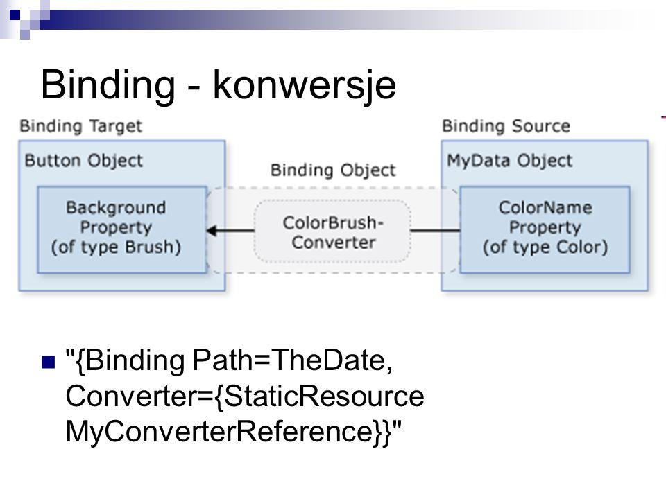 Binding - konwersje {Binding Path=TheDate, Converter={StaticResource MyConverterReference}}