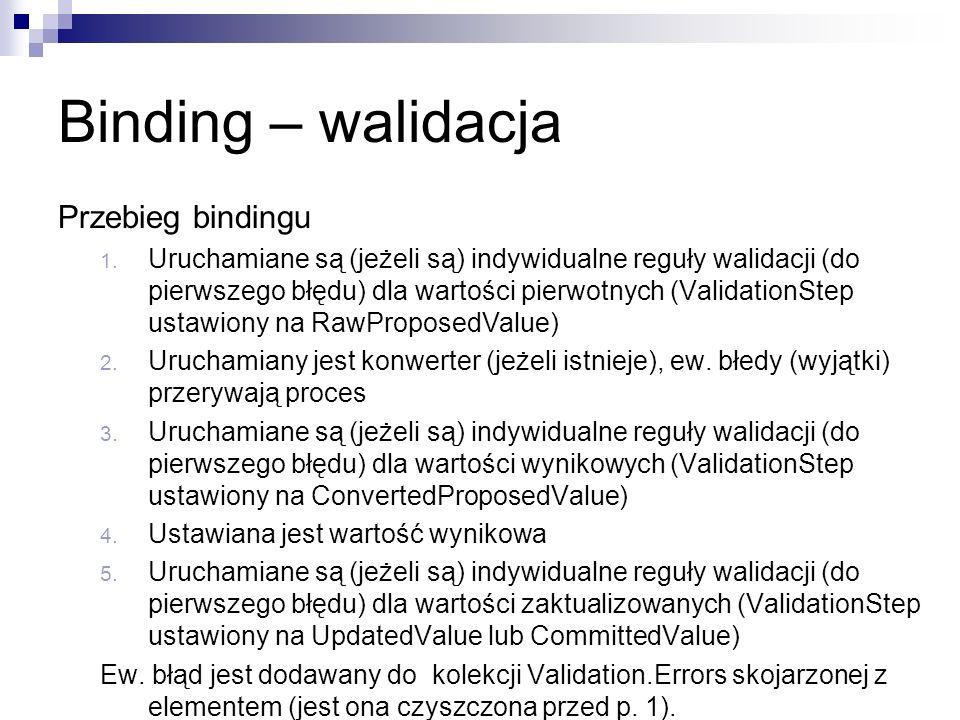 Binding – walidacja Przebieg bindingu