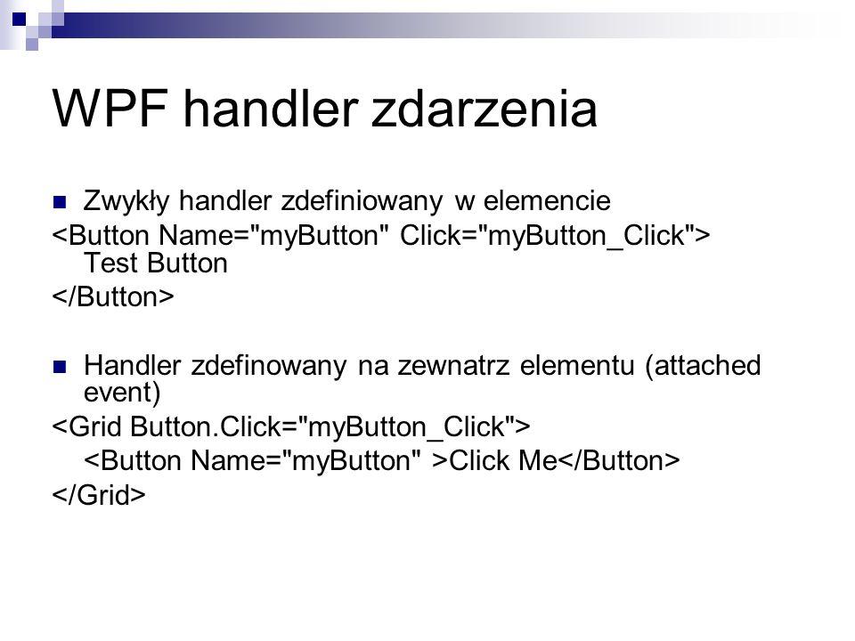 WPF handler zdarzenia Zwykły handler zdefiniowany w elemencie