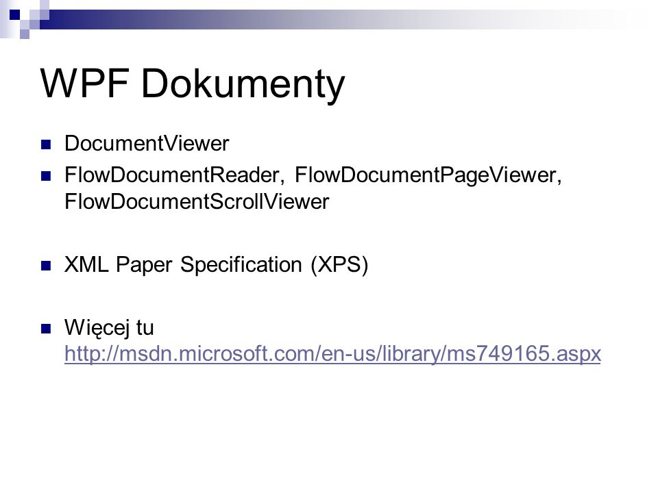 WPF Dokumenty DocumentViewer