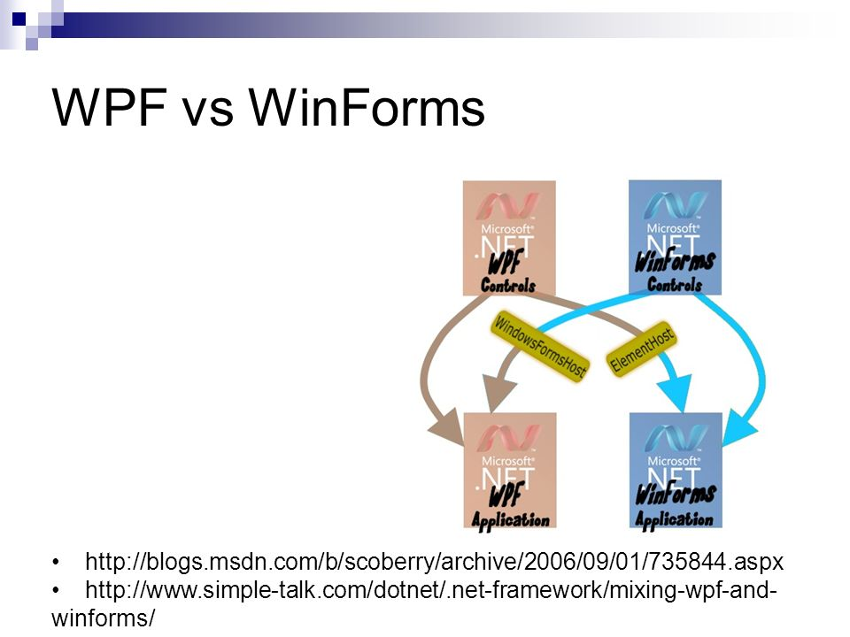WPF vs WinForms http://blogs.msdn.com/b/scoberry/archive/2006/09/01/735844.aspx.