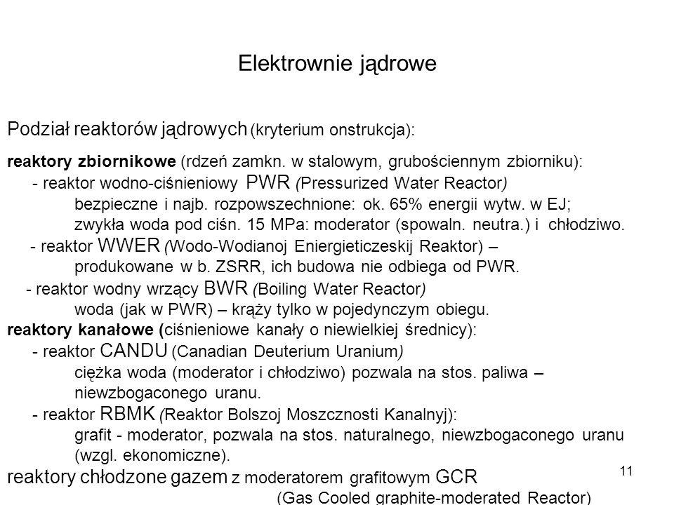 Elektrownie jądrowe Podział reaktorów jądrowych (kryterium onstrukcja): reaktory zbiornikowe (rdzeń zamkn. w stalowym, grubościennym zbiorniku):