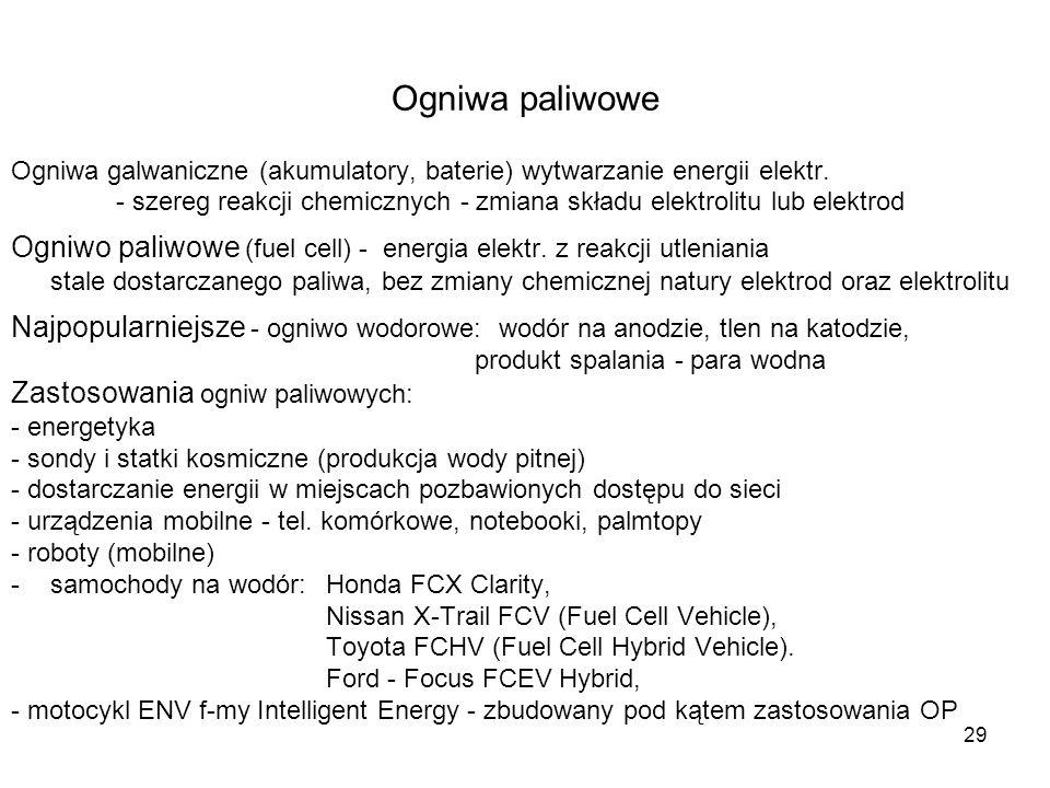 Ogniwa paliwowe Ogniwa galwaniczne (akumulatory, baterie) wytwarzanie energii elektr.