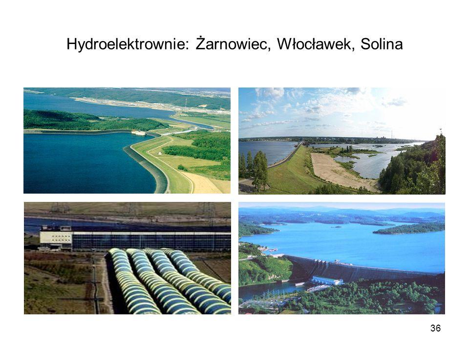 Hydroelektrownie: Żarnowiec, Włocławek, Solina
