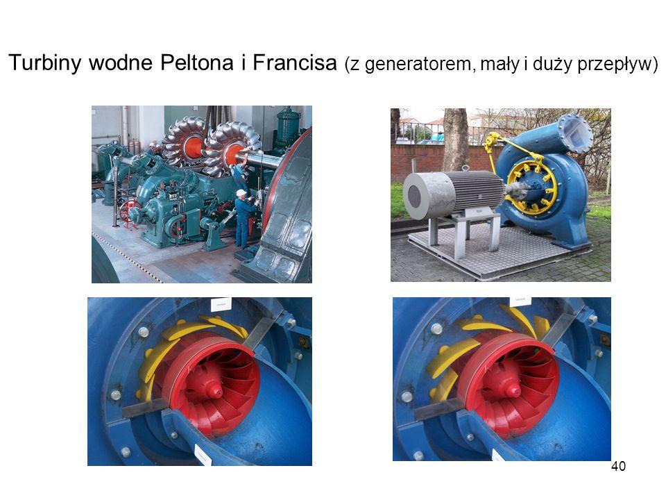 Turbiny wodne Peltona i Francisa (z generatorem, mały i duży przepływ)