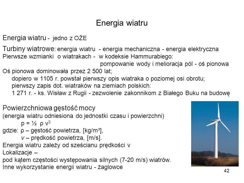 Energia wiatru Energia wiatru - jedno z OŹE