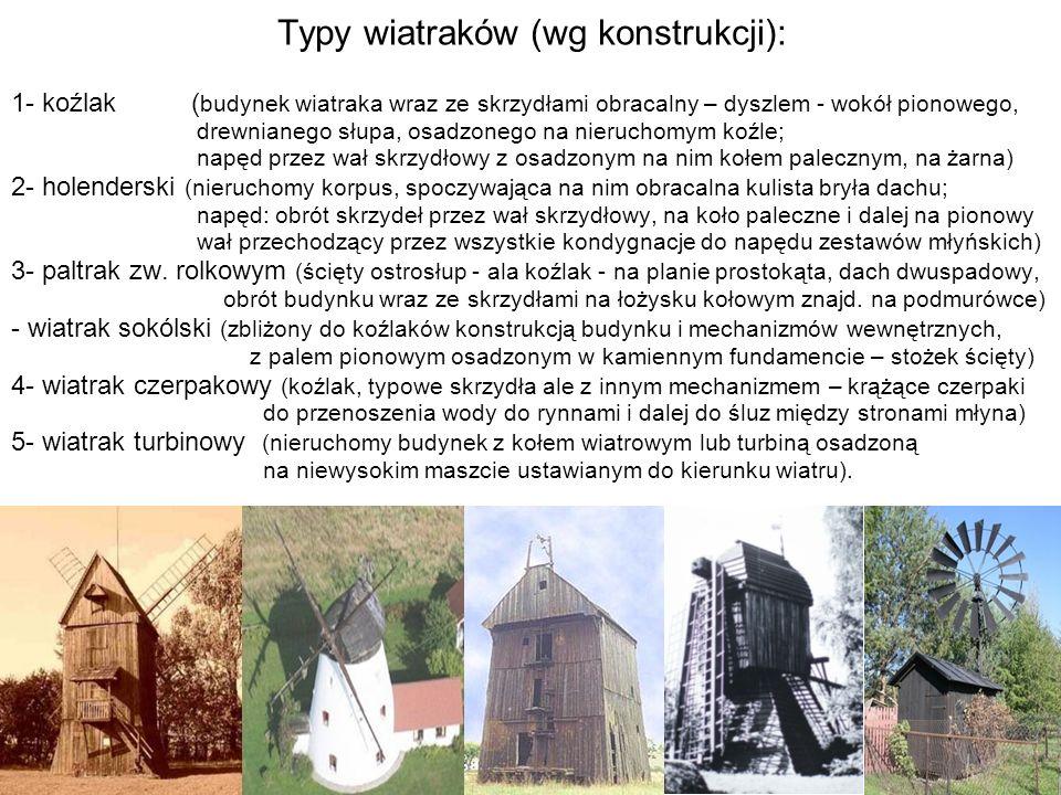 Typy wiatraków (wg konstrukcji):