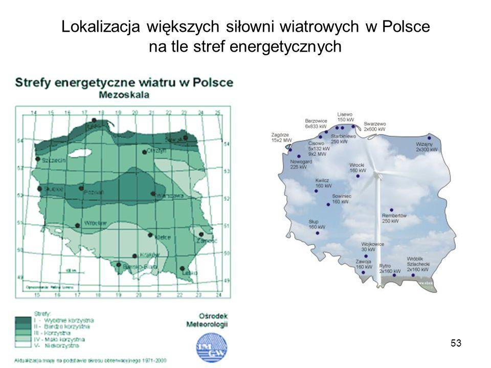 Lokalizacja większych siłowni wiatrowych w Polsce na tle stref energetycznych
