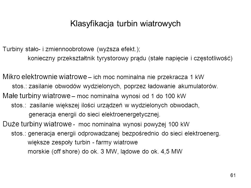 Klasyfikacja turbin wiatrowych