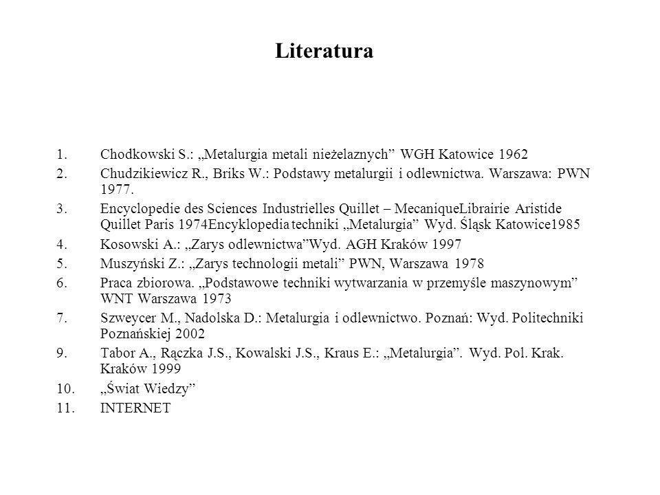 """Literatura Chodkowski S.: """"Metalurgia metali nieżelaznych WGH Katowice 1962."""