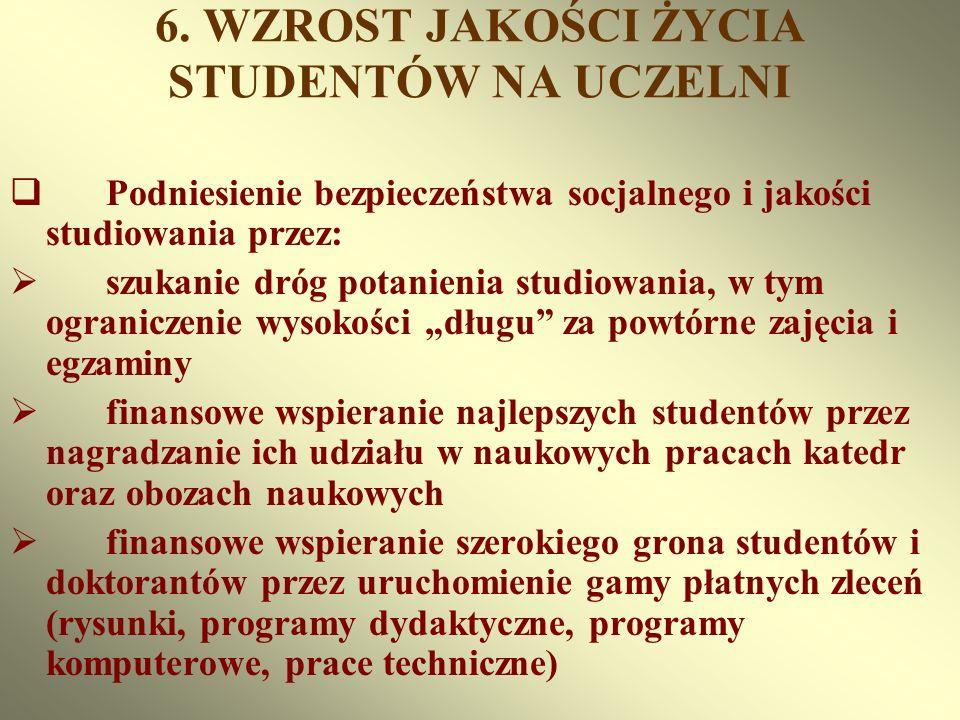 6. WZROST JAKOŚCI ŻYCIA STUDENTÓW NA UCZELNI