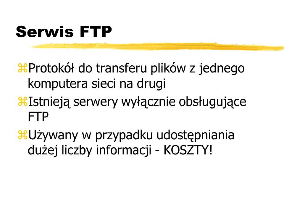 Serwis FTP Protokół do transferu plików z jednego komputera sieci na drugi. Istnieją serwery wyłącznie obsługujące FTP.