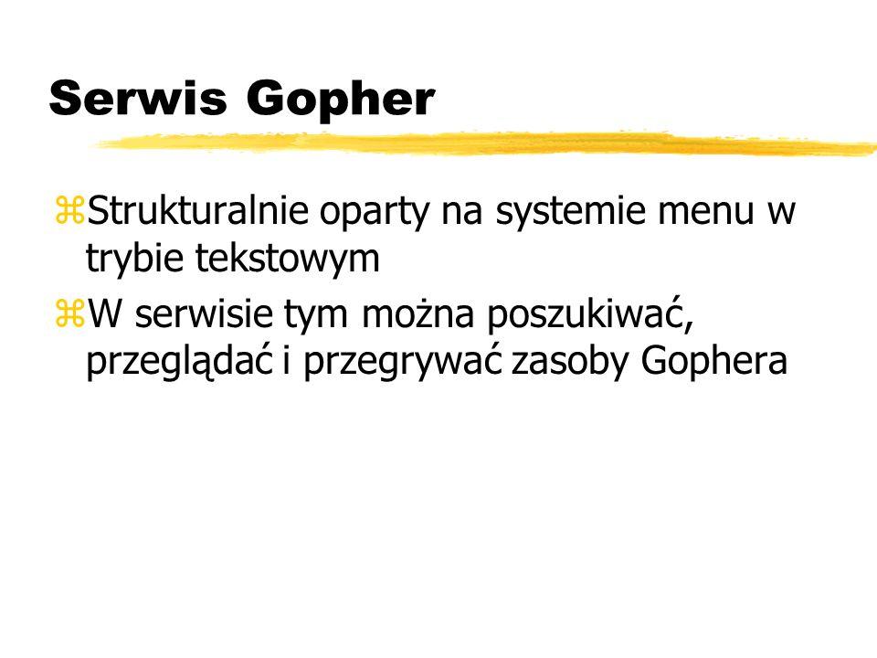 Serwis Gopher Strukturalnie oparty na systemie menu w trybie tekstowym