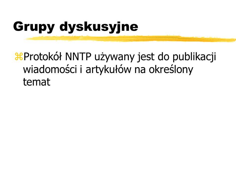 Grupy dyskusyjne Protokół NNTP używany jest do publikacji wiadomości i artykułów na określony temat